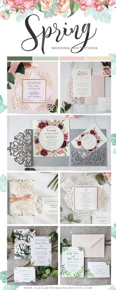 Wedding Invitation Spring Colletion from Elegant Wedding Invites.#wedding#invitation#2018trends