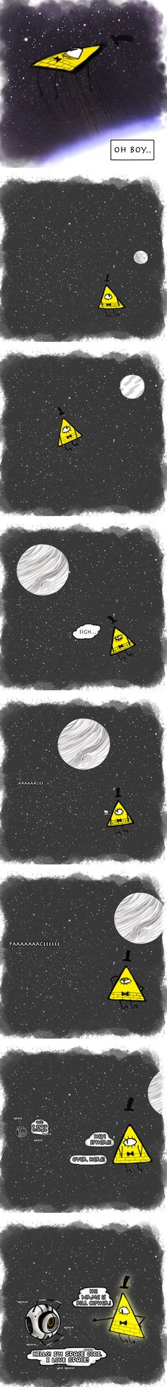 oh space. bill u need to meet luna! Gravity Falls Theory, Reverse Gravity Falls, Reverse Falls, Low Gravity, Aperture Science, Fancy Words, Bill Cipher, Calm Before The Storm, Fandom Crossover