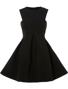 Black Round Neck Sleeveless Ruffle Flare Dress 15.95