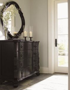 Love The Wall Color With The Dark Furniture