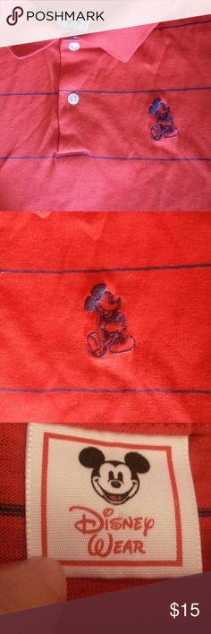 Vintage 80s Mickey Mouse polo shirt red navy M Genuine 80s era Mickey mouse polo shirt.  It looks like a medium Unisex sizing Poly cotton blend Red with navy blue pinstripes disney Tops