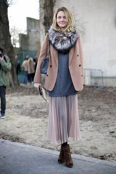 Camel Jacket over Grey Sweatshirt and Grey CHANEL Bag