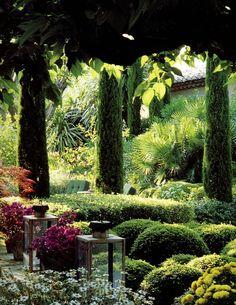 Vertical Bushes add interest to the garden.Pierre Berge - Chateau Gabriel in Deauville - Beautiful Landscapes, Beautiful Gardens, Beautiful Flowers, Formal Gardens, Outdoor Gardens, Indoor Garden, Dream Garden, Home And Garden, Landscape Design