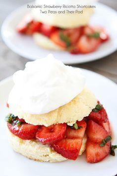 Balsamic Strawberry Ricotta Shortcakes Recipe on twopeasandtheirpod.com