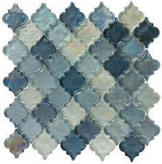 Dentelle Series Heavenly Lagoon perfect for showers and wet areas. A beautiful arabesque and iridescent glass tile mosaic in blue tones. Mosaic Glass, Mosaic Tiles, Pool Tiles, Tiling, Glass Tiles, Mosaic Wall, Architecture Design, Honed Marble, Tile Stores
