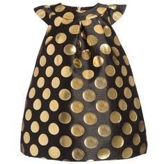 Baby Girls Black Jacquard Dress with Gold Spots, Moschino, Girl