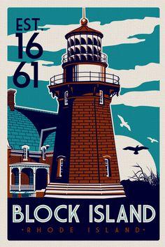 Block Island Southeast #Light House Retro by RetroScreenprints  -  http://dennisharper.lnf.com/
