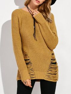 White Ripped Details Round Neck Sweater - US$23.95 -YOINS#sweater#fallstyle#fashion#trend