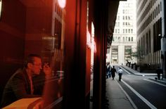 alex webb - usa. new york city. october 1994. the neon lights of a coffee shop in the financial district.