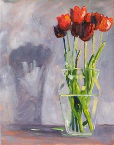 Still Life Oil Painting, Original on Canvas, Red Tulips, Flowers in Vase, 11x14, Floral Kitchen Wall Decor, Gray, Vase, Spring