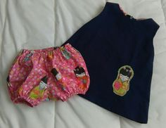 Robe chasuble et son bloomer assorti taille 6 mois.