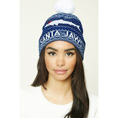 Forever21 Santa Jaws Beanie (13 AUD) ❤ liked on Polyvore featuring accessories, hats, embroidery hats, embroidered beanie, beanie hat, pom beanie and fold beanie