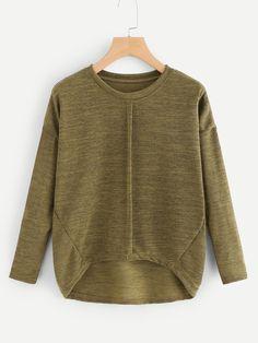 4767f99a245d89 Casual Plain Asymmetrical Regular Fit Round Neck Long Sleeve Pullovers Army  Green Regular Length Drop Shoulder Dip Hem Tee