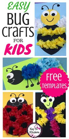 Easy Bug and Insect Crafts - Free - Key to Kinders - School ideas - I confess…Bugs and Insects are not my favorite theme to teach. BUT with these cute bug crafts add -