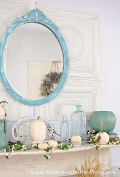 Autumn Mantel Mirror Vases