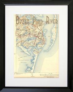 Maps Oyster Pond River Framed Graphic Art