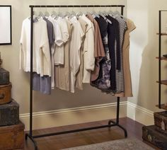 (paid link) Clothes rack bedrooms & Portable Closets. #clothesrackbedroom