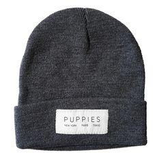 Designer Label   Gray Beanie - Hat -  - Puppies Make Me Happy