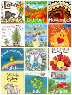 A Year of Preschool Books & Activities. This is an AWESOME list of great activities & crafts that coincide with their books! Also has related activities. Preschool Literacy, Preschool Books, Literacy Activities, In Kindergarten, Preschool Activities, Monthly Themes For Preschool, Toddler Book Activities, Preschool Teachers, Childhood Education