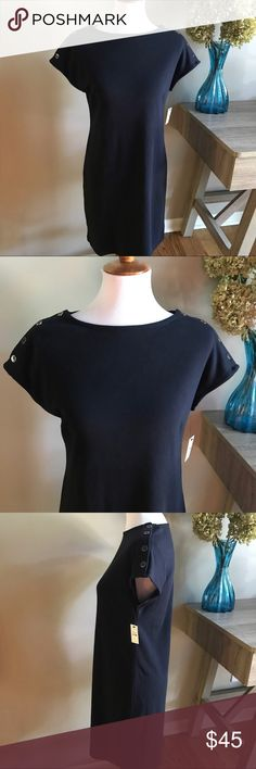 "Talbots Cotton Navy Blue Dress with Button Detail Talbots 100% Cotton Navy Blue Shirt Dress with Button Detail on Shoulders. Super cute & comfortable. This is like wearing your favorite t-shirt! New with Tags! Tag size Sp (Small petite) Approximate measurements laying flat: armpit to armpit 17"", length shoulder to hem 35"". 👗👛👠👙👕Bundle & Save! Talbots Dresses"