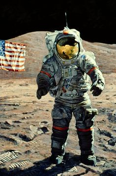 The American, 1983, a portrait of Apollo 17 moonwalker Gene Cernan by Apollo 12 astronaut Alan Bean.