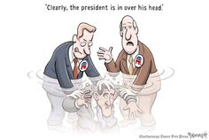 """Clay Bennett: Drowning - Truthdig. It's damn near impossible to move the country forward if the GOP in Congress are constantly trying to hold the country back in the name of power.  The President isn't """"in over his head"""" but the GOP will be drowning if the 99% ever starts a revolution."""