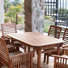6 Piece Acacia Wood Patio Dining Set