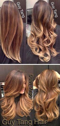 20 Colorations ,Ombré Hair Chic Et Tendance Ombre Hair Color, Dark Brunette Hair, Brown Blonde Hair, Caramel Hair, Ombre Hair Color, Hair Colors, Hair Highlights, Color Highlights, Balayage Hair, Hair Trends