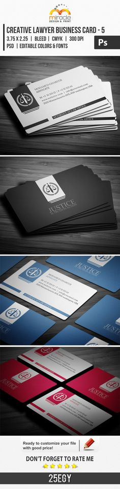 Creative Lawyer Business Card #5 check out this #creative #design #business_card Creative and clean Lawyer Business Card . editable text layers or colors shape layers in easy way . Suitable for : C...