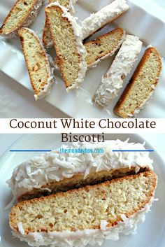 Coconut White Chocolate Biscotti-  crunchy coconut cookies coated in white chocolate, are a tropical delight for the taste buds| The Monday Box