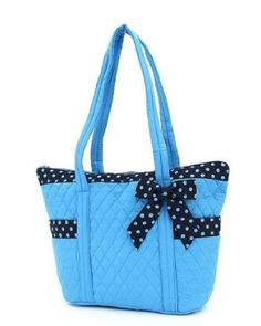 Belvah Medium Quilted Solid Tote Handbag with Side Pockets - Choice of Colors (Blue/Navy)