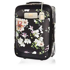 Black floral print wheelie suitcase $130.00