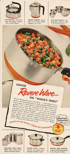 Retro Kitchen Home Decor Revere Ware Copper Bottom Cookware Vintage Print Ads. I have my mother's revere ware pots and pans. Retro Ads, Vintage Advertisements, Vintage Ads, Weird Vintage, Vintage Posters, 1950s Kitchen, Retro Kitchens, Kitchen Queen, Revere Ware