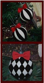 spray painted old Christmas ornaments, then decorated with electrical tape--I've got to try this!