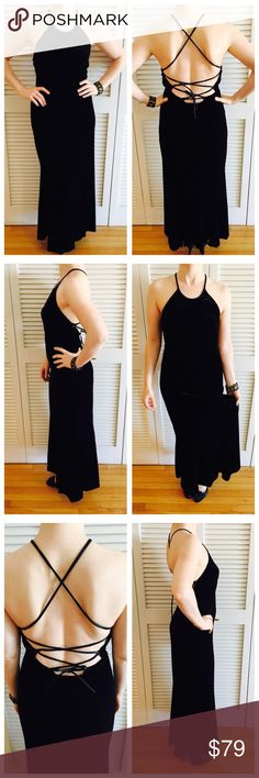 Vintage Black Velvet Halter Dress Worn, but in decent condition! Size large, but fits like a small, but material is stretchy so it can expand to fit a larger size. Underlayment is 90% polyester and 10% spandex. ABS Allen Schwartz Dresses Wedding