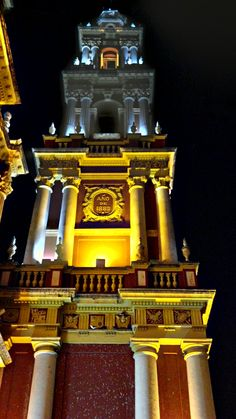 Torre de la iglesia de San Francisco en la noche:  Salta, Argentina.