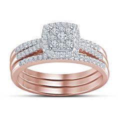 Rd Sim Diamond 10k Rose Gold GP 925 Silver Solitaire W/Accents Bridal Ring Set #BridalEngagementRingSet #WeddingEngagementAnniversaryBirthdayPartyGift