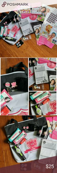 Perfectly Posh Bundle Pins: Prep Acadamy and 30 Days Posh Ring, 2 Bags, Brand new pack of order forms, Sample Stickers Company and Product Pamphlets Polka-dot guide and Perks Cards 11 old school Posh catalogs Selling as a whole   **Rubby Scrubby, Soothing Stick, Moisturize 911, Complexion Perfection, BFF, Impish Eyes**NOT INCLUDED** Perfectly Posh Other