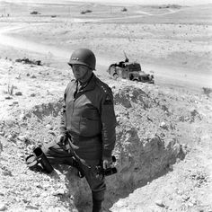 American Lt. Gen. (later General) George S. Patton in North Africa during WWII, 1943