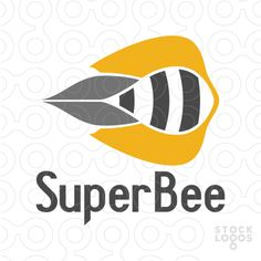 Abstract and creative logo design of honey bee, it is like the bee is moving fast in a super sonic speed, used grey and orange colors to make it attractive and professional design.