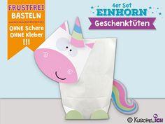 """Geschenktüten - 4 Geschenktüten """"Einhorn"""" ☆ DIY - ein Designerstück von KuschelICH bei DaWanda"""