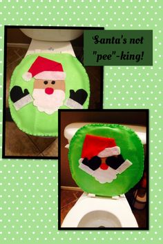 Toilet Seat Cover Made From Scraps Of Felt No Pattern Just To Fit SeatsChristmas DecorFeltingFatherGame OfBathroomsNatalBathroom SetsHoliday