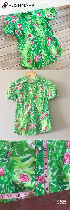 🔷Size 4 Lilly Pulitzer Button Down Shirt Size 4 Lilly Pulitzer Button Down Short sleeve shirt - green and pink floral print. EUC. Measurements and fabric pictured. No trades only offer button no comments Lilly Pulitzer Tops Button Down Shirts