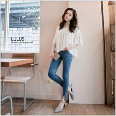 LULUS-E V領細壓褶上衣-白 現+預【01070610】   LuLu's - Yahoo奇摩超級商城
