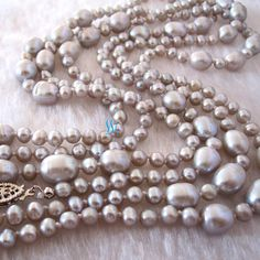 Pearl Necklace - 60 inches 4.0-9.0mm Silver Gray Freshwater Pearl Necklace - Free shipping