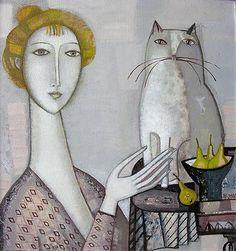 Woman and a Cat figurative art - oil painting Artist:Tatyana Gorschunova ) Art And Illustration, Illustrations, Cat Drawing, Cat Love, Crazy Cats, Love Art, Cat Art, Oeuvre D'art, Female Art