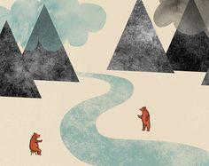 Items similar to River friends Print 8 x - Home Decor digital illustration mountains clouds bears on Etsy Landscape Illustration, Digital Illustration, Friends Illustration, Dear World, Nursery Prints, E Design, Design Ideas, Wonderful Images, Decoration