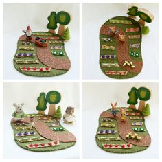 Wander through the Garden. Stay for a chat with a snail. Or have a picnic.  This wool felt play mat is hand-stitched and measures approximately 9 x 12. The play possibilities are endless!  Small parts not intended for children under the age of three years accessories/toys not included - for staging purposes only  Thank you for visiting my little shop of imagination www.mybigworld2015.etsy.com