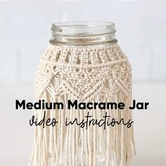 Video Tutorial Small Macrame Jar Pattern   Etsy Macrame Cord, Micro Macrame, Tips And Tricks, Macrame Design, Macrame Projects, Macrame Patterns, My Etsy Shop, Things To Sell, Crafts