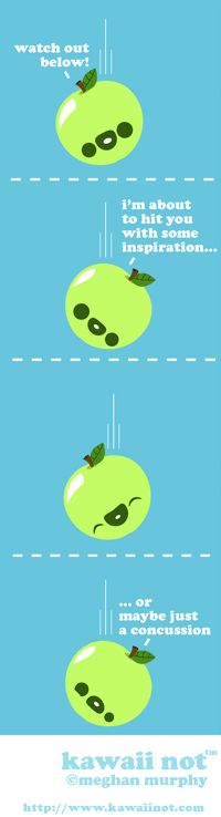 The falling apple of inspiration. (Kawaii Not Comic)